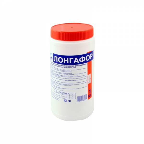 «ЛОНГАФОР» табл. 20гр.  1кг. - средство пролонгированного действия для дезинфекции бассейна в таблетках