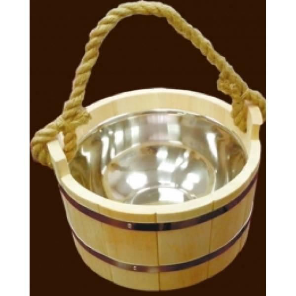 Шайка для бани и сауны на 4.5 литров с нержавеющей вставкой и канатом
