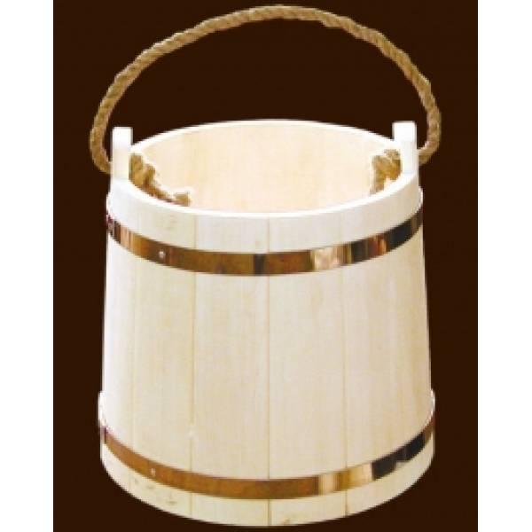 Ведро для бани на 15 л из чистого дерева