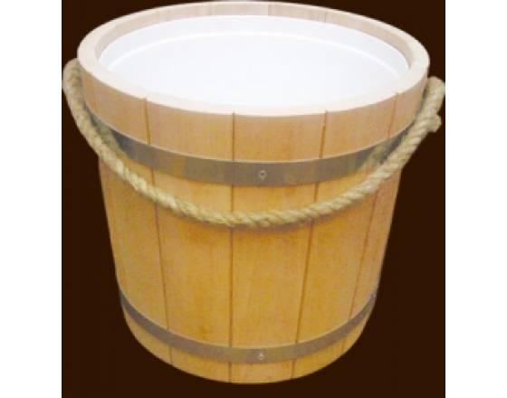 Ведро для бани на 15 л с пластиковой вставкой