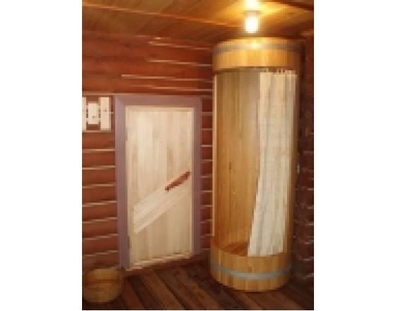 Деревянная душевая кабина круглая