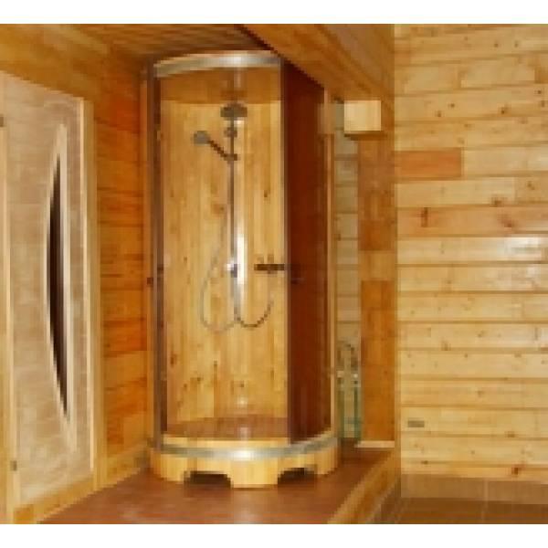 Деревянная душевая кабина овальная