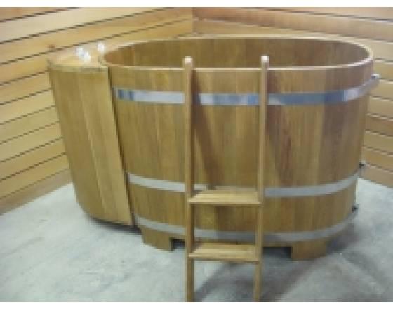 Купель овальная для бани и сауны из дуба размером 120х185