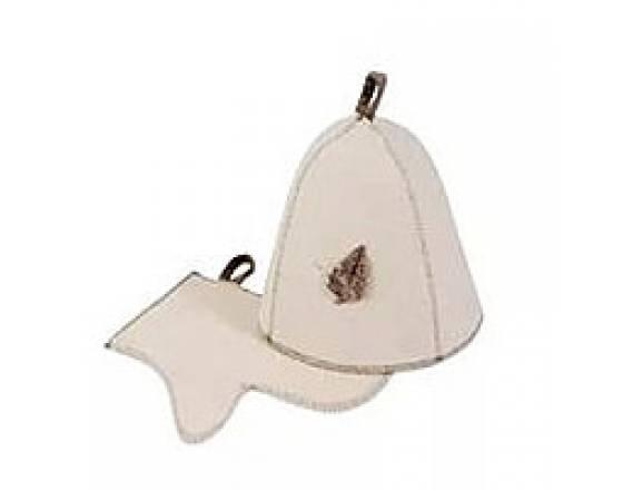 Комплект банный (шапка, рукавица), войлок