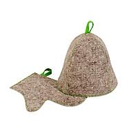 Комплект банный (шапка,рукавица), войлок серыйый