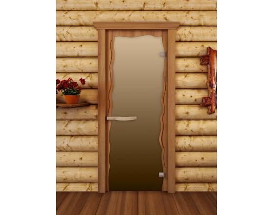 """Дверь для сауны """"Круиз"""", стекло бронза мат"""