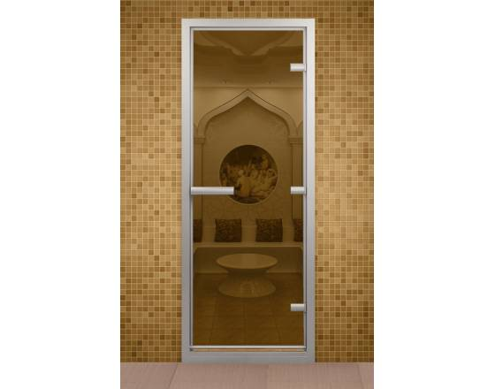Дверь для турецкой бани и ванной комнаты, с бронзовым стеклом