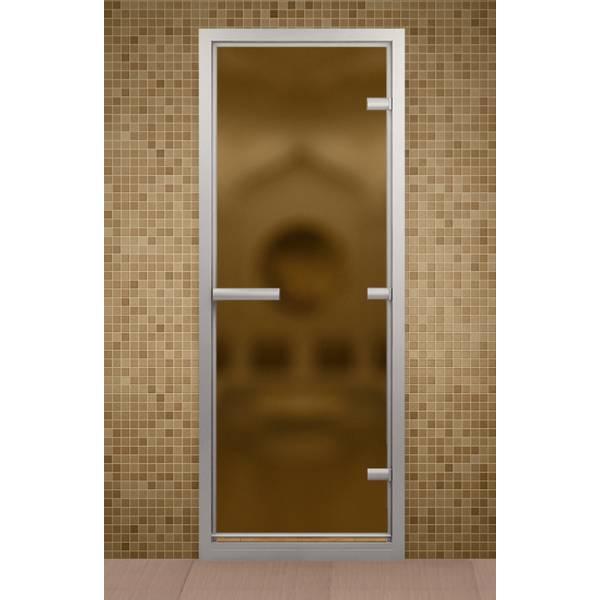 Дверь для турецкой бани и ванной, стекло бронза мат