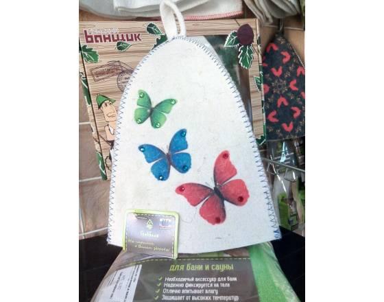 Шапка банная Бабочки. Стразы, войлок