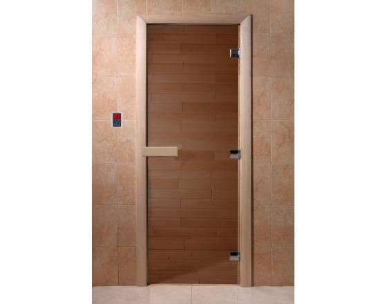 """Двери DoorWood, полотно 6 мм, 700x1900 """"Теплый день"""" (бронза, коробка хвоя)"""