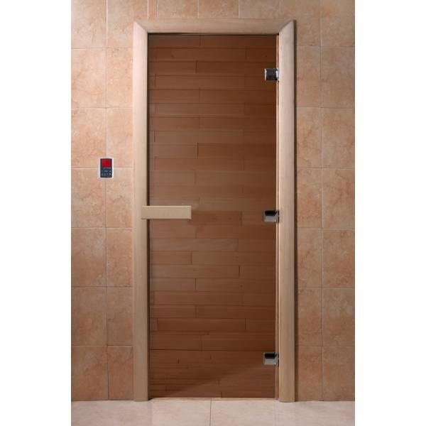 """Двери DoorWood, полотно """"6"""" мм, 700x1900 """"Теплый день"""" (бронза, коробка хвоя)"""