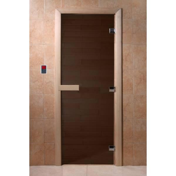 """Двери DoorWood, полотно """"6"""" мм, 700*1900 """"Теплая ночь"""" (бронза матовая, коробка хвоя)"""