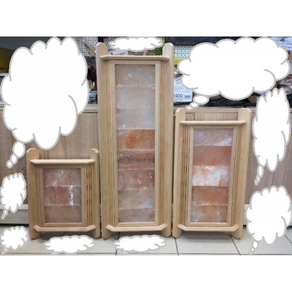 Абажур для бани из ГИМАЛАЙСКОЙ СОЛИ  угловой липа (три плитки)