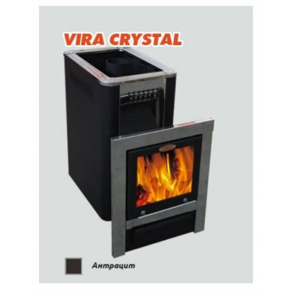 Печь для бани и сауны VIRA-12 CRYSTAL (Большое панорамное стекло)