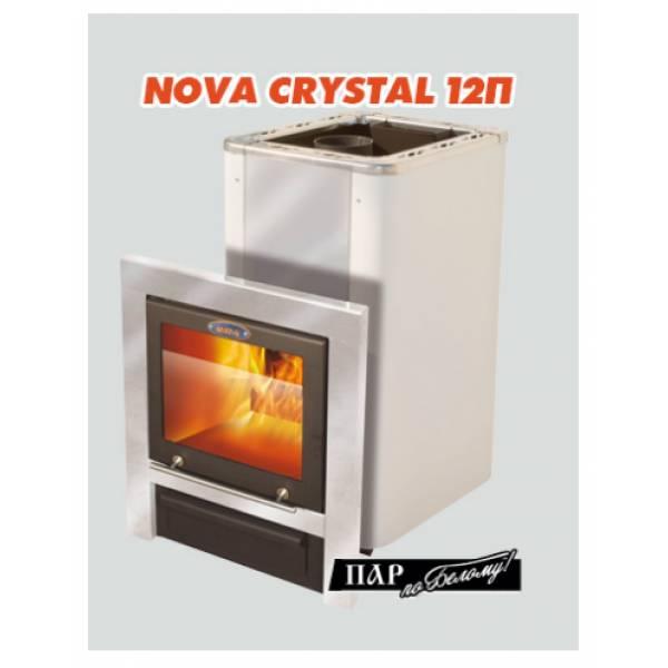 """Печь для бани и сауны VIRA-12 CRYSTAL П """"Пар по Белому"""" (Большое панорамное стекло/ Парогенератор)"""