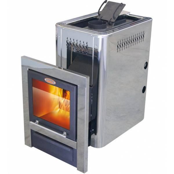 Печь для бани и сауны VIRA-12 CRYSTAL ПН (Большое панорамное стекло/ Парогенератор/ Нержавеющий кожух)