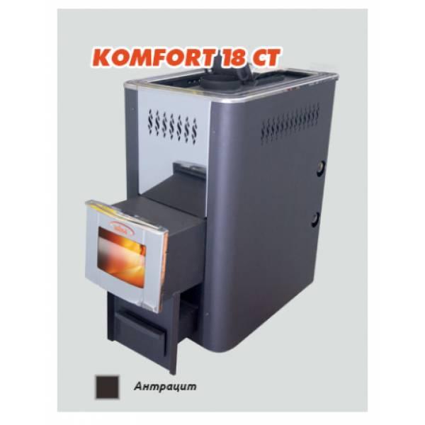 Печь для бани и сауны Vira KOMFORT-18ТС (теплообмен./стекло)/ KOMFORT-18ТСК (теплообмен/стекло/корот. топл.)