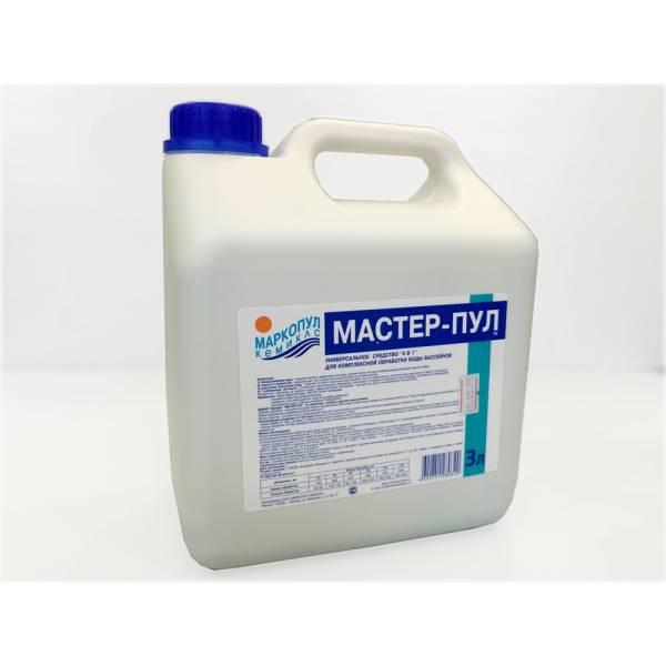 """""""Мастер-пул"""" - универсальное бесхлорное жидкое средство «4 в 1» для комплексной очистки воды плавательных бассейнов 3л"""
