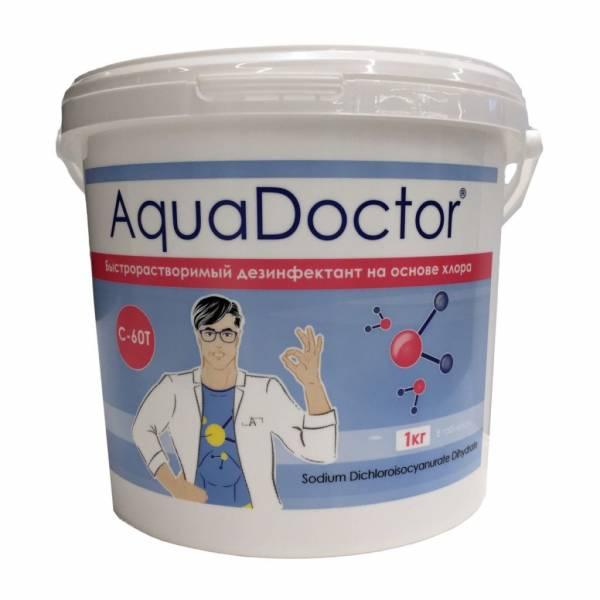 Быстрорастворимый дезинфектант на основе хлора AquaDoctor C-60T 1 кг в таблетках