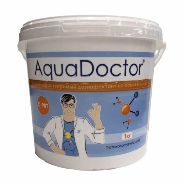 Медленнорастворимый дезинфектант на основе хлора AquaDoctor C-90T 1 кг в таблетках